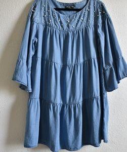 Chambray Denim Baby Doll Pearl Shift Dress